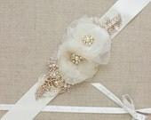 Bridal sash, Gold, Rose gold, wedding belt, Bridal dress sash, wedding dress sash belt, Rustic Shabby chic floral Champagne Ivory Tan OOAK