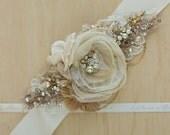 Bridal sash, Wedding dress sash, Floral sash, Floral belt, Gold, Champagne, Bride belt sash, Wedding belt sash belt, Gold bridal belt