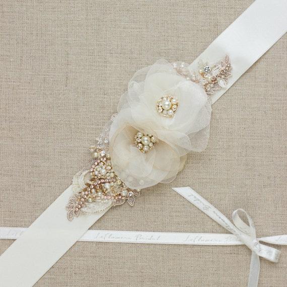 Bridal sash wedding belt gold rose gold bridal dress sash for Gold belt for wedding dress