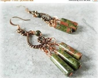 20% OFF SALE Chandelier Earrings. Gemstone Earrings. Unakite Earrings. Solid Copper Earrings. OOAK