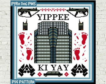 Yippee Ki Yay Cross Stitch Pattern - PDF - Die Hard Modern Cross Stitch Sampler - Instant Download - Christmas Movie