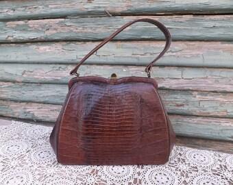 Brown Alligator Lizard Handbag