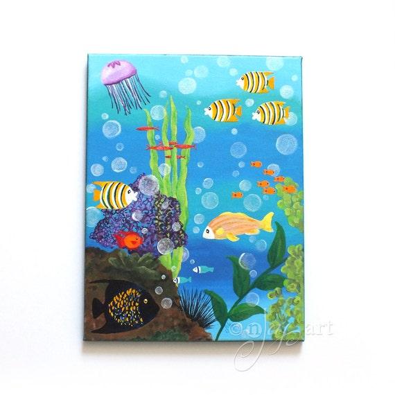 Happy Fish #4, 11x14 inch acrylic painting, fish art, beach themed decor