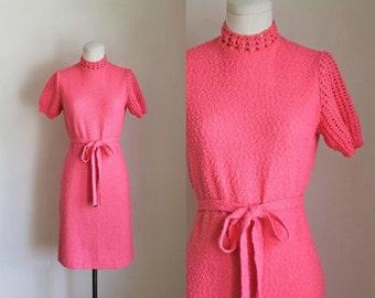 vintage 1960s sweater dress - HEARTBREAKER pink crochet dress / S-M