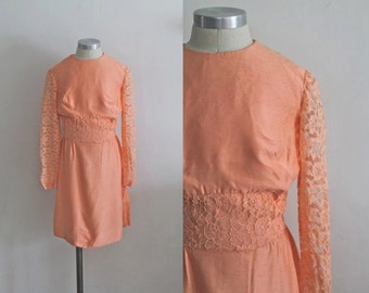 vintage 1960s girl's dress - RUBY GRAPEFRUIT peach lace dress / 8/9yr