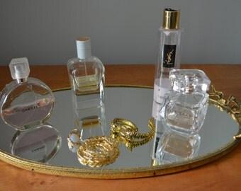 METAL MIRROR Gold Vanity Tray Brass Flower Ribbon Rococo Filigree