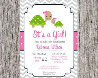 Turtle Baby Shower Invitation, turtles invitation, baby girl shower, custom, digital invitation, printable