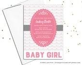Printable baby shower invitation for girls - girls baby shower invites - pink and gray baby shower - custom shower invitations (780)
