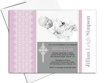 Purple Christening invitation girl printable | Unique baptism invites baby girls | DIY file or printed - WLP00203