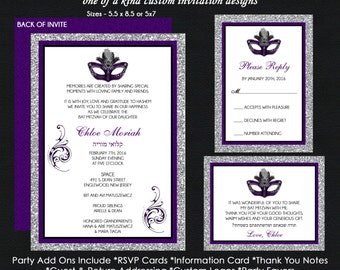 Masquerade Mask Bat Mitzvah Invitations - Silver Purple Black Glitter - Reply Card - Insert Card - Thank You Note Cards - USE for ANY EVENT