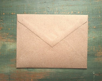 """100 A2 Pointed Flap Kraft Envelopes, 4 3/8"""" x 5 3/4"""" (111 x 146mm), grocery bag kraft brown envelopes, 4bar envelopes, RSVP triangular flap"""