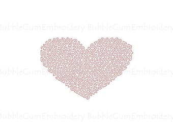 Stipple Heart Embroidery Design Instant Download