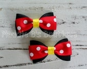 Red Yellow Black Minnie Mouse hair bows-polka dot Disney bows-set of 2-Made by Maddie B's Boutique on Etsy