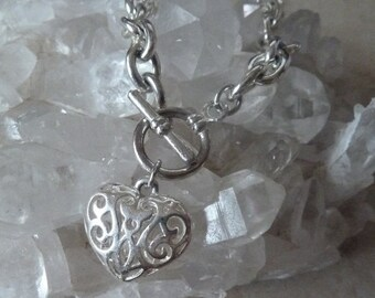 Heart Charm Link Bracelet, Silver Chain Bracelet
