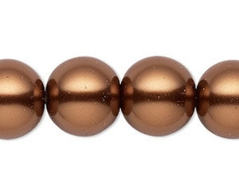 25pcs 16mm Bead Glass Pearl Round Antique Copper 16 Inches Strand