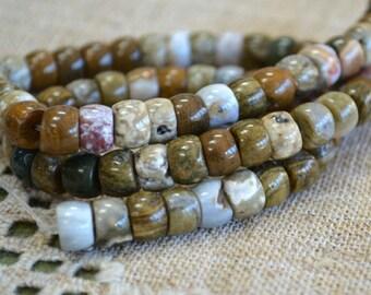 8x5mm Rondelle Ocean Jasper Natural Gemstone Beads 16 Inches Strand