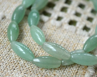 Green Aventurine Oval 12x5mm Natural Gemstone Beads 16 Inches Strand