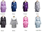 Set of 6 Satin Robes Monogrammed Satin Robes Personalized Robe Bridesmaid Gifts White Black Light Blue Pink Lavender Navy Purple Grey
