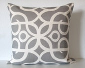 Gray ivory lattice scroll decorative pillow cover