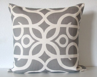 Gray ivory lattice scroll decorative pillow cover
