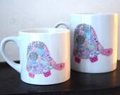 Tortoise mug - pink tortoise - ceramic mug - textile art - kids gift - children gift - gift for her - christening - birthday - teacher - mum