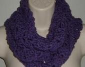 purple infinity cowl scarf crochet ref 341