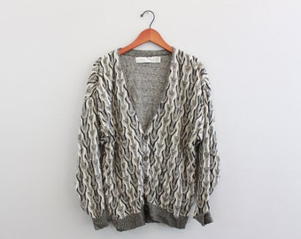 Vintage Gray tones funky Mr Rodgers Knit Cardigan Sweater By Crossing Fine Line