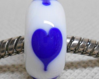 Glass Lampwork Bead Large Hole European Charm Bead White with Blue Hearts