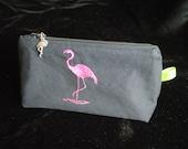 Pink flamingo cosmetic bag