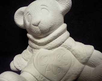 Loved alot bear-ceramic bisque-paint it yourself-nice detail