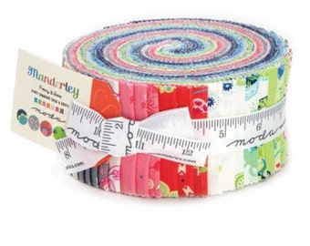 Jelly Roll Moda Cotton Quilt Fabric MANDERLEY, Patch Work Fabric Franny and Jane for Moda Modern Fabric Moda Jelly Roll