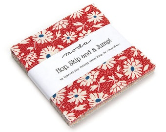 """Moda Charm Pack, Hop Skip and a Jump Moda Cotton Quilt Fabric, by American Jane 5"""" Square Charm Pack"""