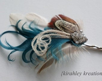 Rustic Wedding Bobby Hair Pin Dark Teal Ivory Champagne Almond Pheasant Feather Rhinestone CARLY Bride Bridesmaid Prom Headpiece SHIP READY
