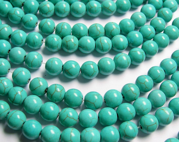 Turquoise Magnesite -  8mm beads -  full strand -  50 pcs - A Quality - RFG831