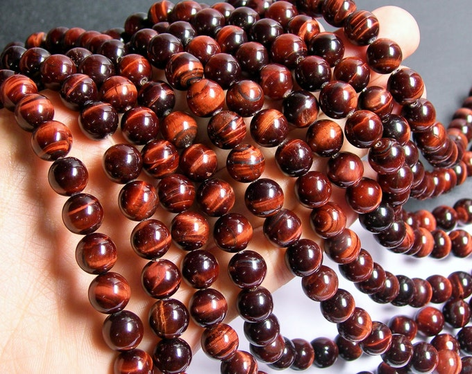 Red Tiger eyes - 10mm round beads -1 full strand - 39 beads - A quality - RFG481