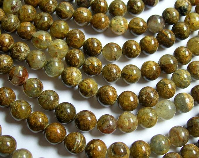 Mix rutilated gold leaf quartz - 8 mm round beads - full strand - 50 beads -- RFG588