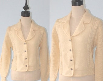 SALE Vintage Ivory Wool Cardigan Sweater . WOODSTOCK International Boiled Wool & Cable Knit Cardy Jumper .  Size Medium