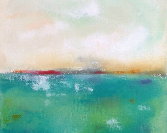 Colorful Green Blue Seascape Abstract Original Painting -Spring Green Sea  12 x 12