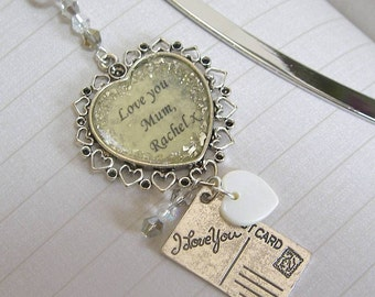 Vintage Style 'Love You' Bookmark with personalisation