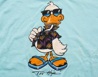 Too Hip Duck T-Shirt, Miami Vice Beach Style Graphic Tee, Vintage 80s, Stedman