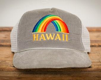 NOS Hawaii Rainbow Snapback Trucker Hat, Mesh Hawaiian Headwear, Vintage 80s