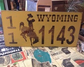Wyoming Wood House Numbers, University of Wyoming, Go Pokes, Wyoming Cowboys, Home Decor, College, Home Address, Wyoming License Plates