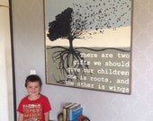 Roots and Wings Quote, Thank You Gift for Parents, Very Large Hand Painted Art, 3ft x 2ft, Free Shipping