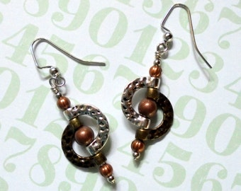 Reserved for Sue - Silver, Copper and Brass Geometic Circular Earrings (2696)