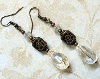Crystal and Brass Teardrop Earrings (3039)