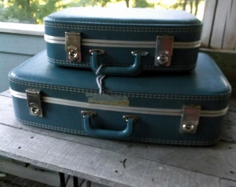 Vintage set of 2 Blue Stacking Nesting Suitcases Medium and Small sized