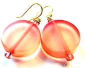 Handcrafted From Vintage Costume Jewelry Frosted Coral Drop Dangle Earrings