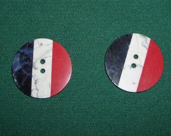 Vintage Antique Tri Color Button Lapis Howlite Red Coral Sew Through Button 2 Antique Buttons Patriotic Red White Blue Folk Art Americana