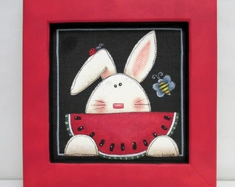 Red Watermelon and White Bunny, Summer Time, Yellow Bumble Bee, Red Lady Bug, Hand or Tole Painted on to Black Screen, Reclaimed Wood Frame