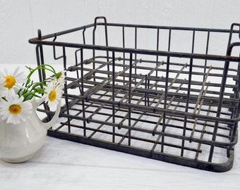 Vintage Wire Milk Crate - farmhouse display and decor - Old Metal Bottle Crate